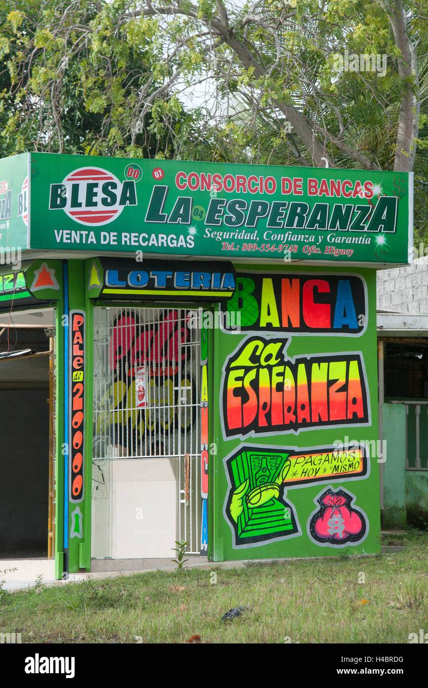 The Dominican Republic, the east, Otra Banda, kiosk and lottery - Stock Image