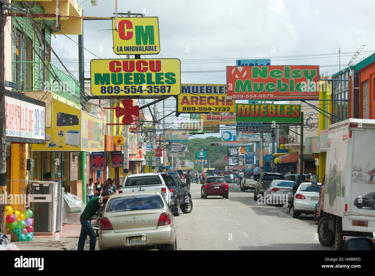 The Dominican Republic, the east, Higüey, arterial road to Punta Cana - Stock Image