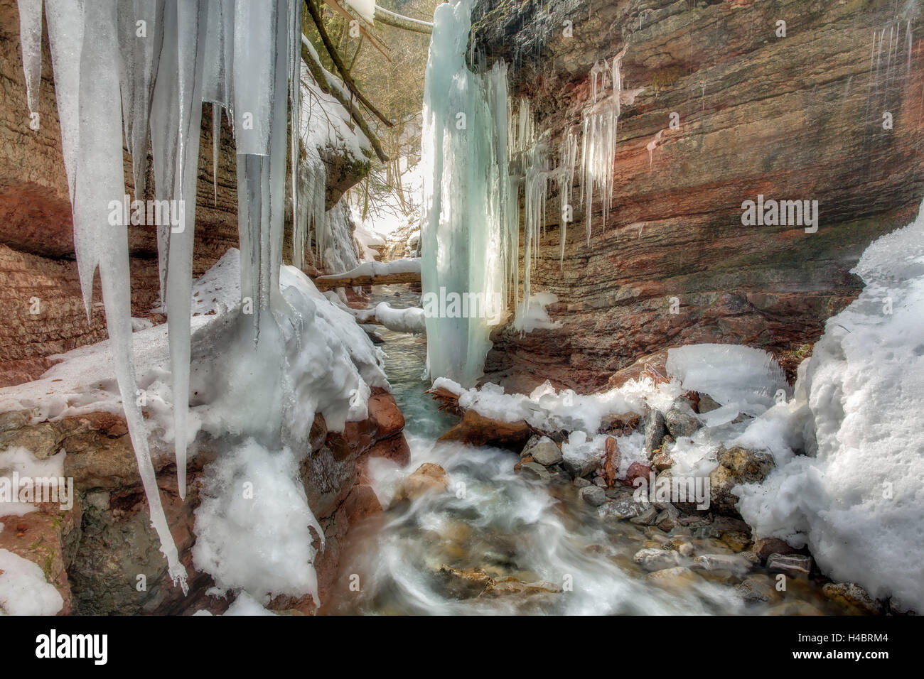 Rock formation at the Taugl in winter, waterfall, Salzburg, Austria Stock Photo