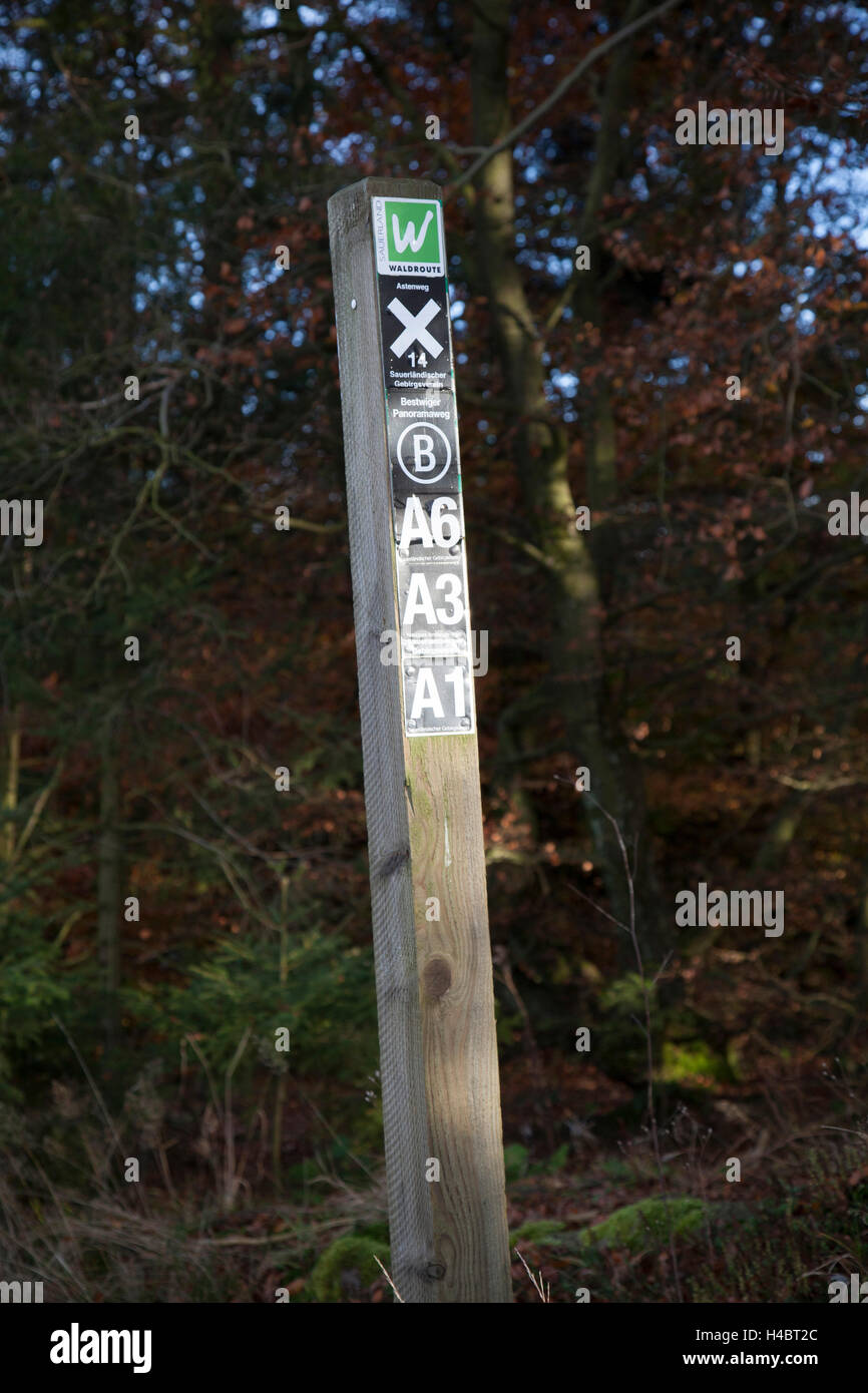 Hiking routes signpost of the Sauerland alpine club - Stock Image