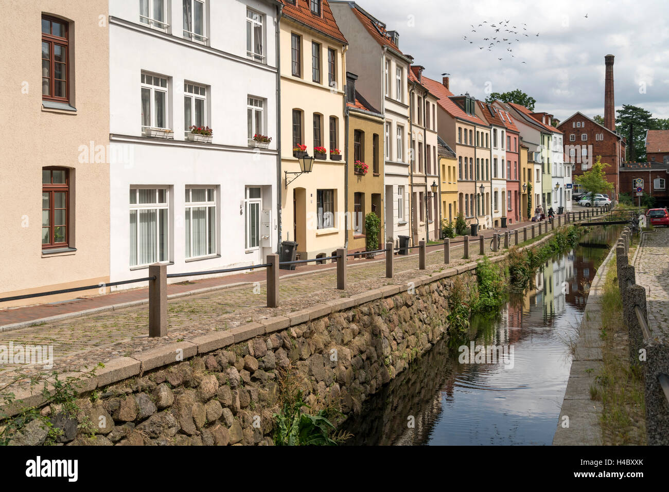 the Grube river or Mühlenbach,  historic old town, Hanseatic City of Wismar, Mecklenburg-Vorpommern, Germany - Stock Image