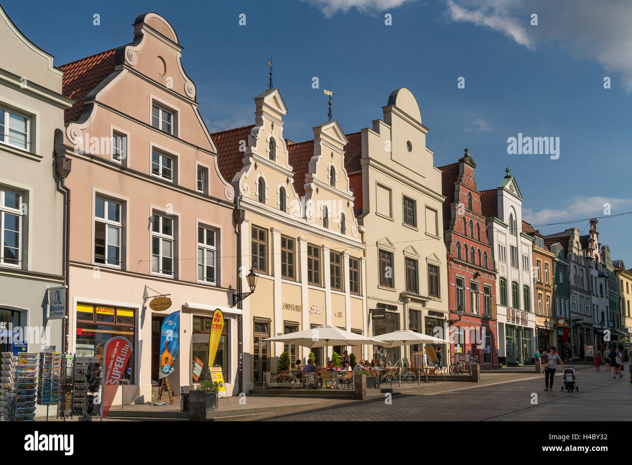 restored facades of the historic old town, Hanseatic City of Wismar, Mecklenburg-Vorpommern, Germany - Stock Image