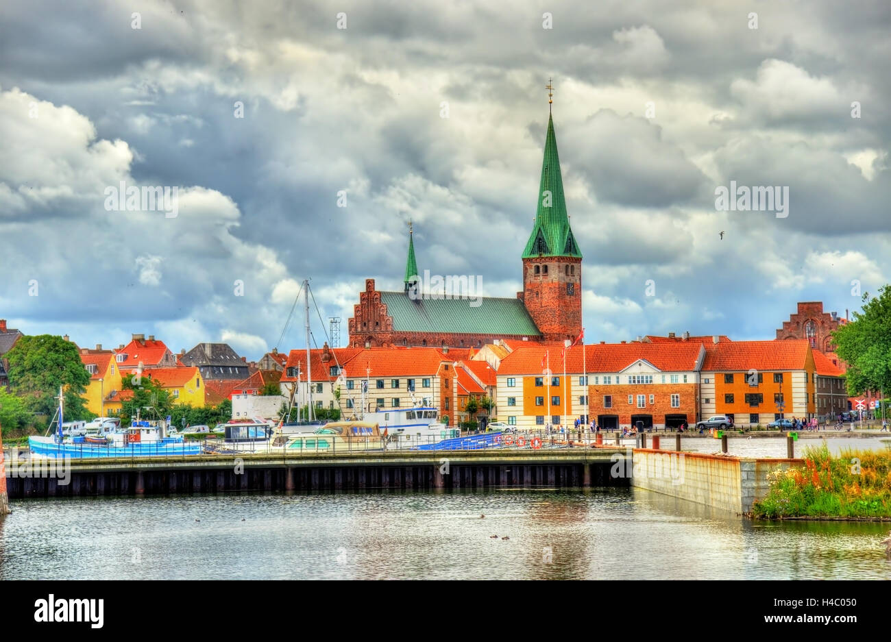 View of Saint Olaf Church in Helsingor - Denmark - Stock Image