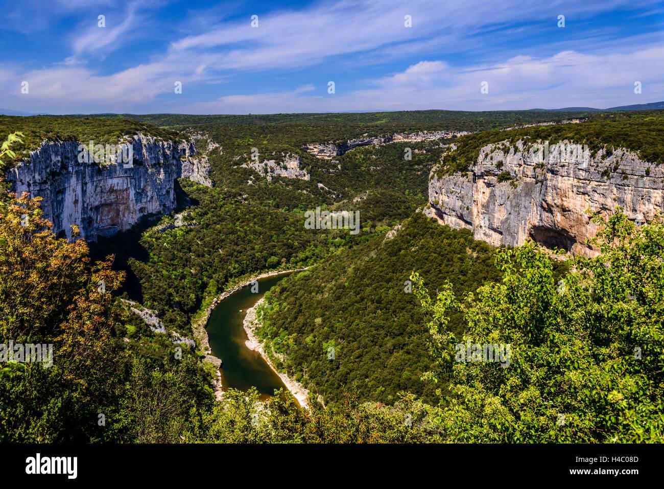France, Rhône-Alpes, ArdÞche, Saint-Martin-d'ArdÞche, Gorges de l'ArdÞche, Grand BelvédÞre - Stock Image