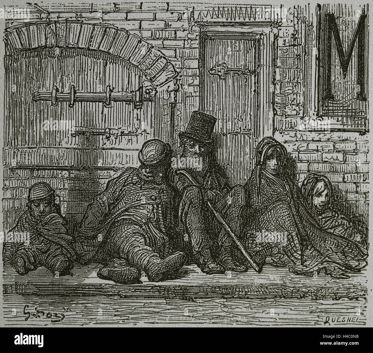 United Kingdom. London. Victorian era. Humble Industries. Roofless. Engraving by Gustave Dore, 19th century. - Stock Image