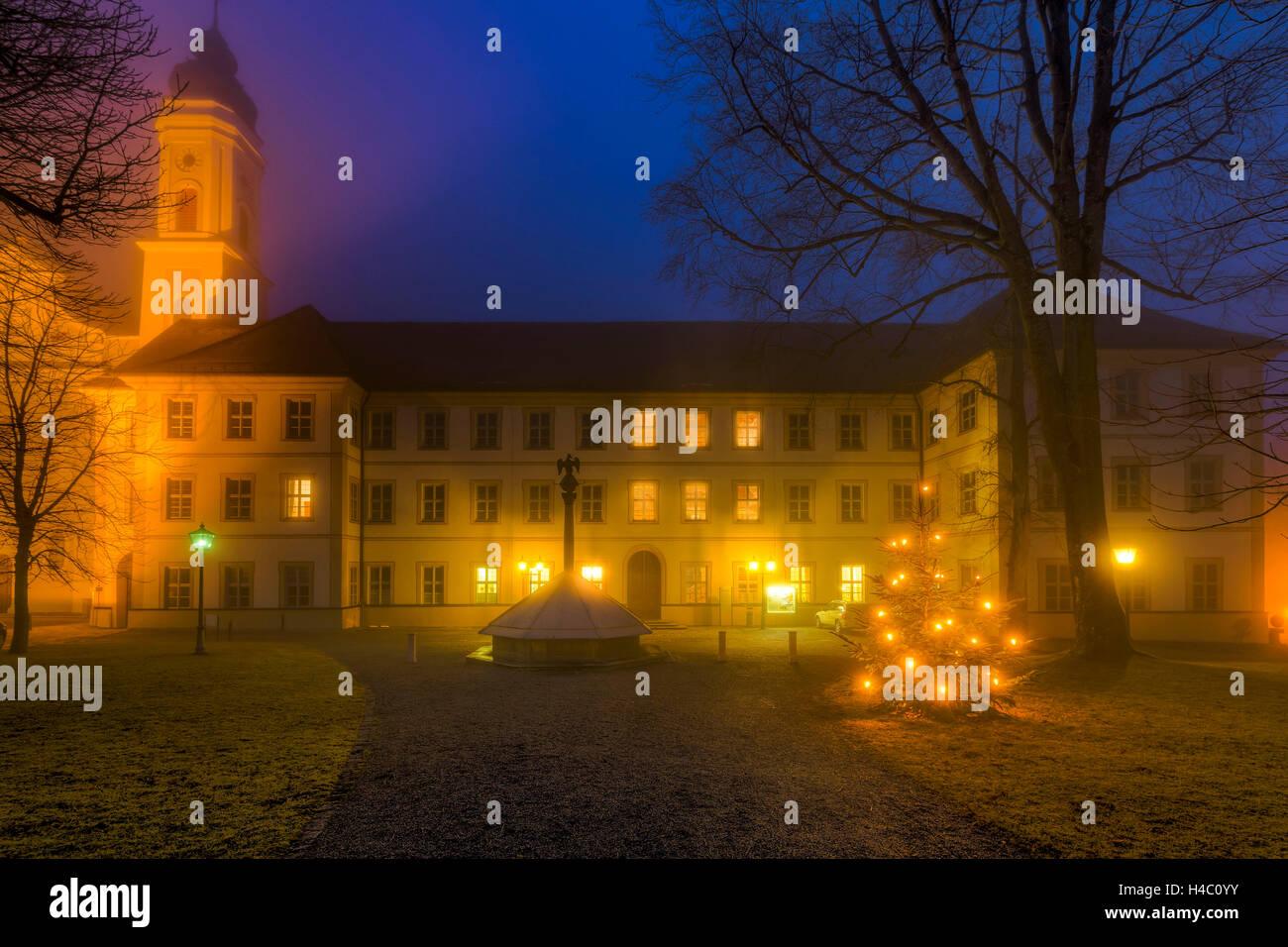 Schwäbisches Bildungszentrum' of Markt Irsee (village), Germany, Bavaria, Allgäu, Irsee, education centre, night, Stock Photo