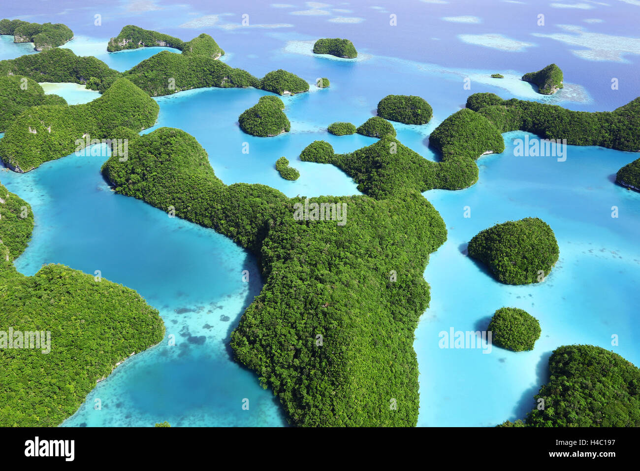 Aerial view of the archipelago of Seventy Islands, Republic of Palau, Micronesia, Pacific Ocean - Stock Image