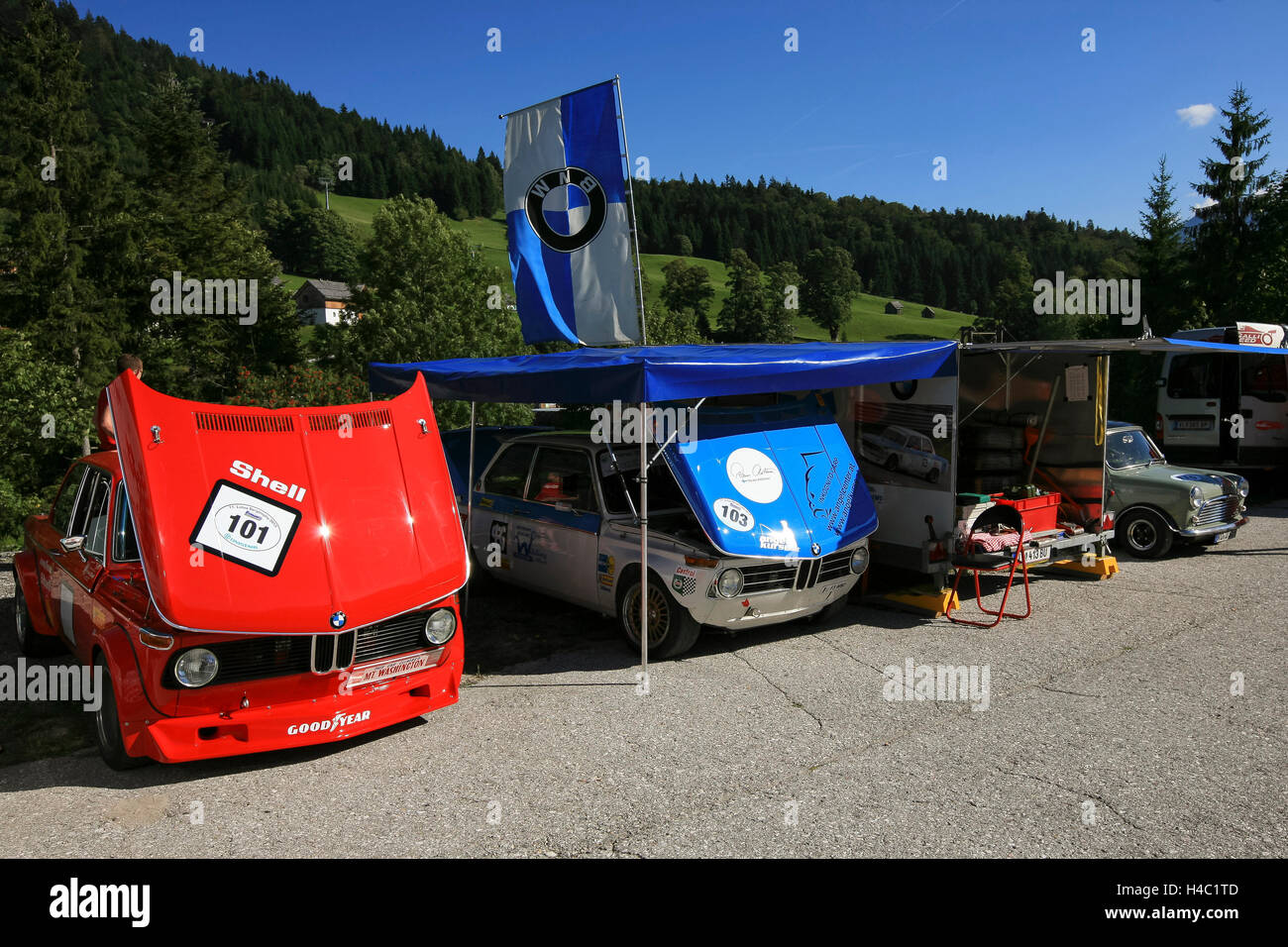 Pits at the mountain race at the Loser, Styria, Austria - Stock Image