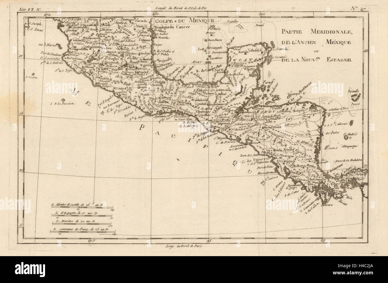 'Partie Meridionale, de L'Ancien Mexique…' by Rigobert Bonne. Mexico c1783 map - Stock Image