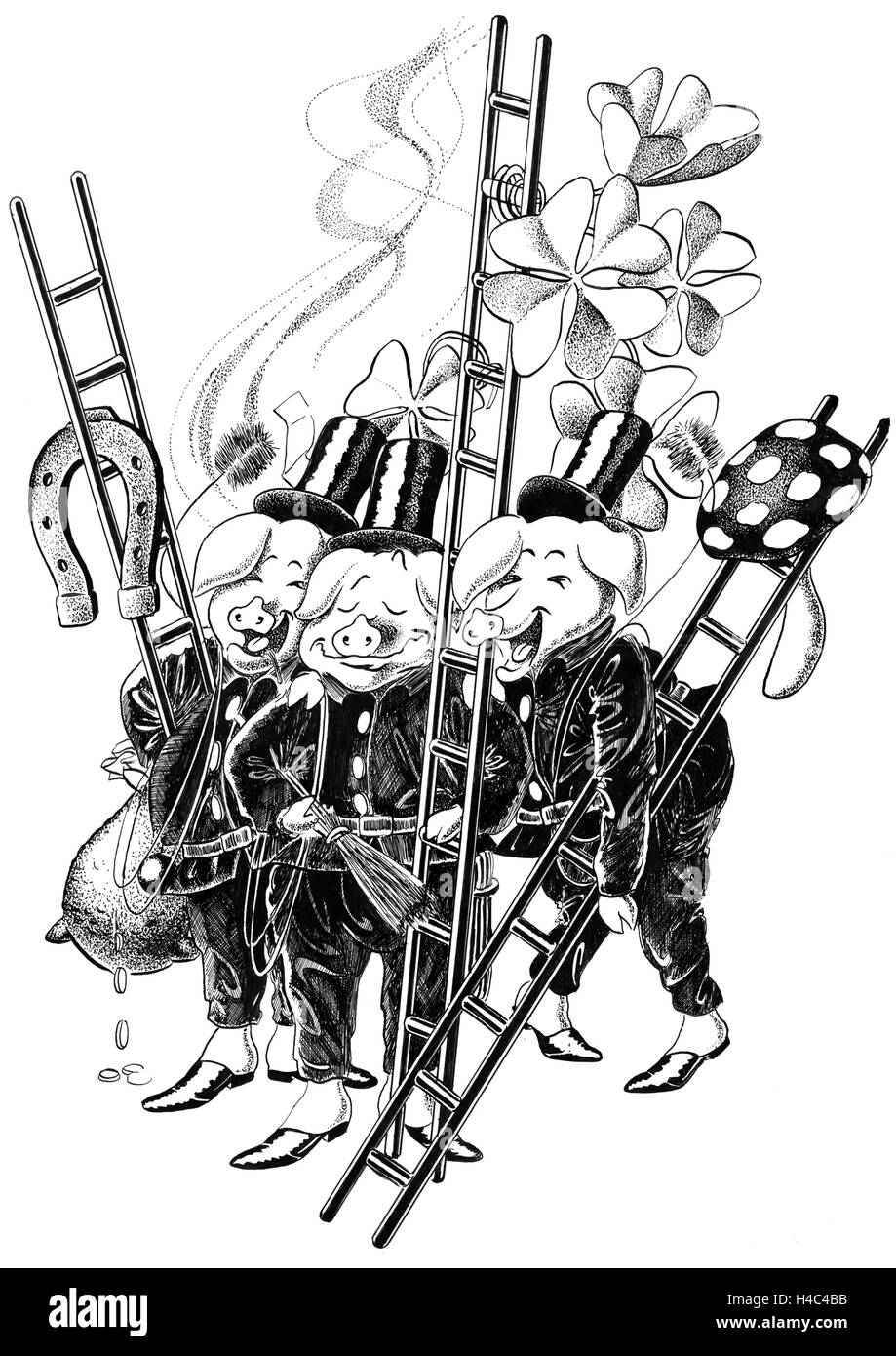 Chimney sweep pigs with ladders and horseshoes at New Year - Stock Image