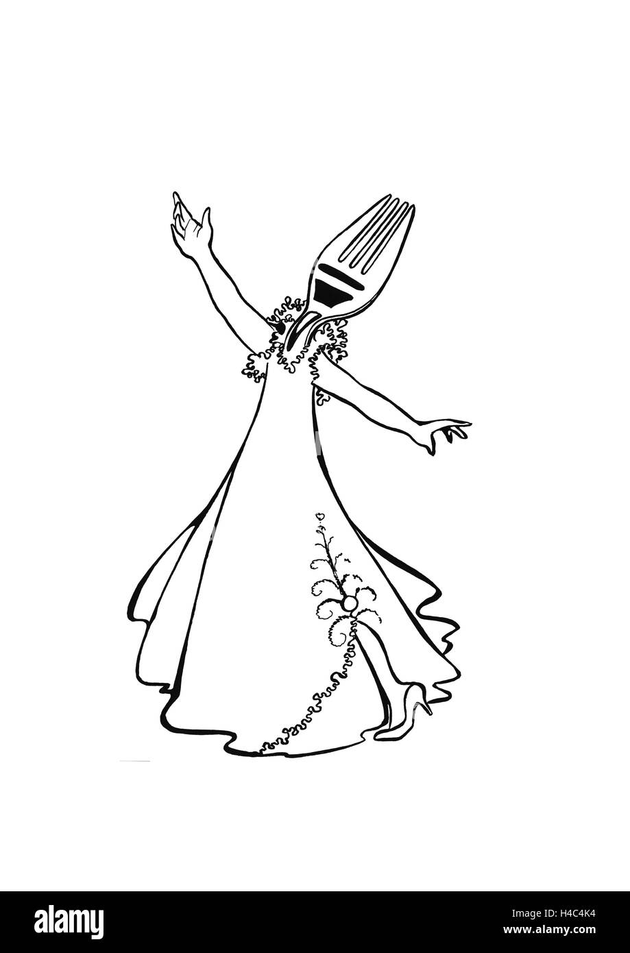 Dancer as a fork in evening gown - Stock Image