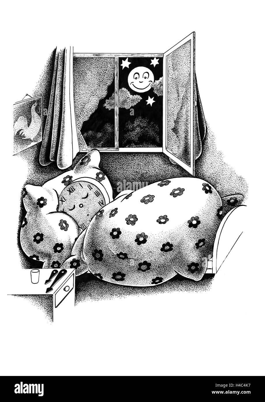 Clock in the duvet - Stock Image