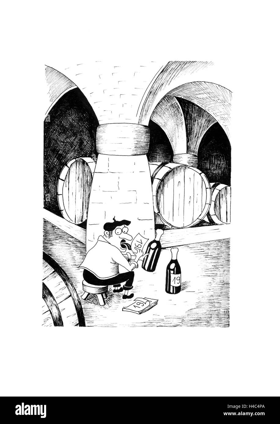 Wine waiter in the vaulted cellar labelling wine bottles - Stock Image