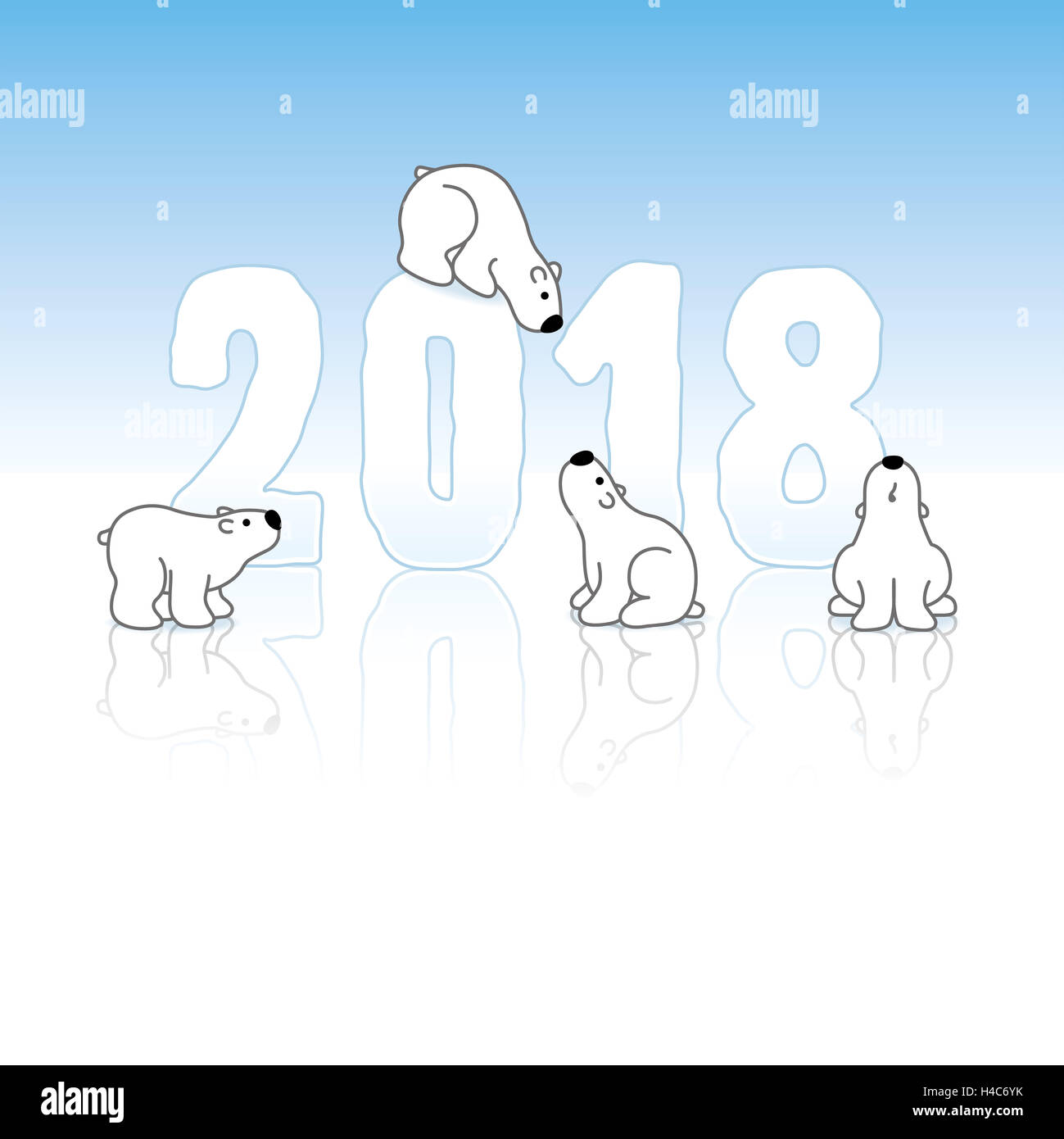 Four Cute Polar Bears and New Year 2018 with Reflections on an Ice ...