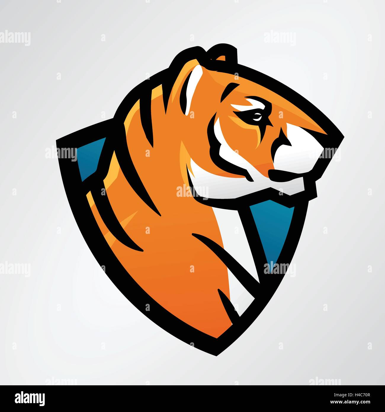 tiger shield sport mascot template football or baseball patch stock
