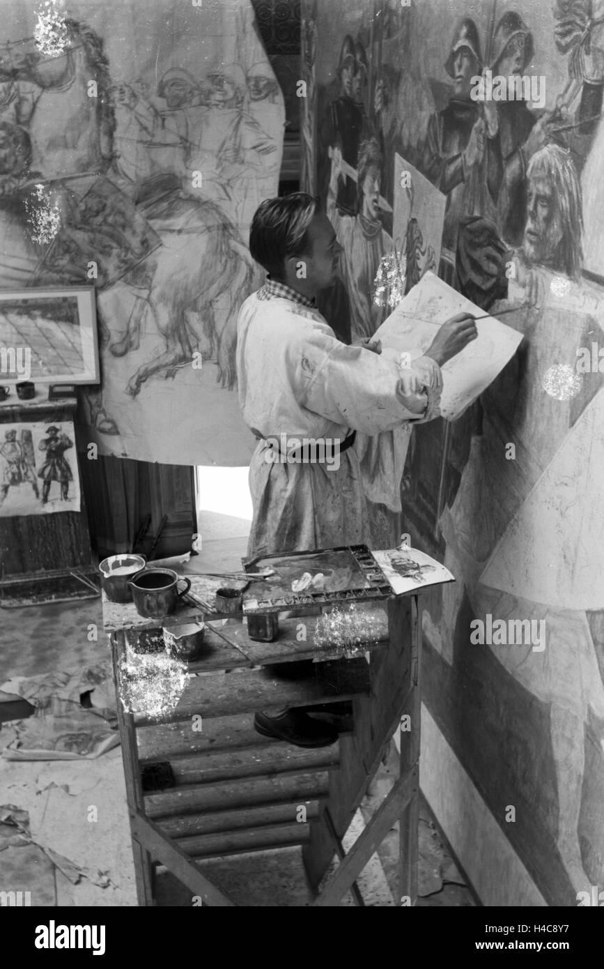 Vorbereitungen für die Große Deutsche Kunstausstellung im neuen Haus der Kunst in München, Deutschland - Stock Image