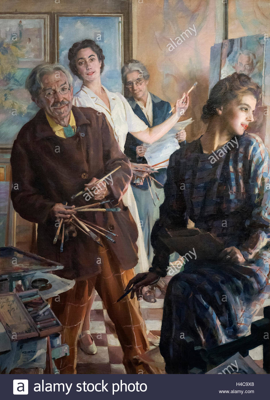 Giacomo Balla (1871-1958), Noi quattro nello spechhio, 1945. Four of us in the mirror. - Stock Image