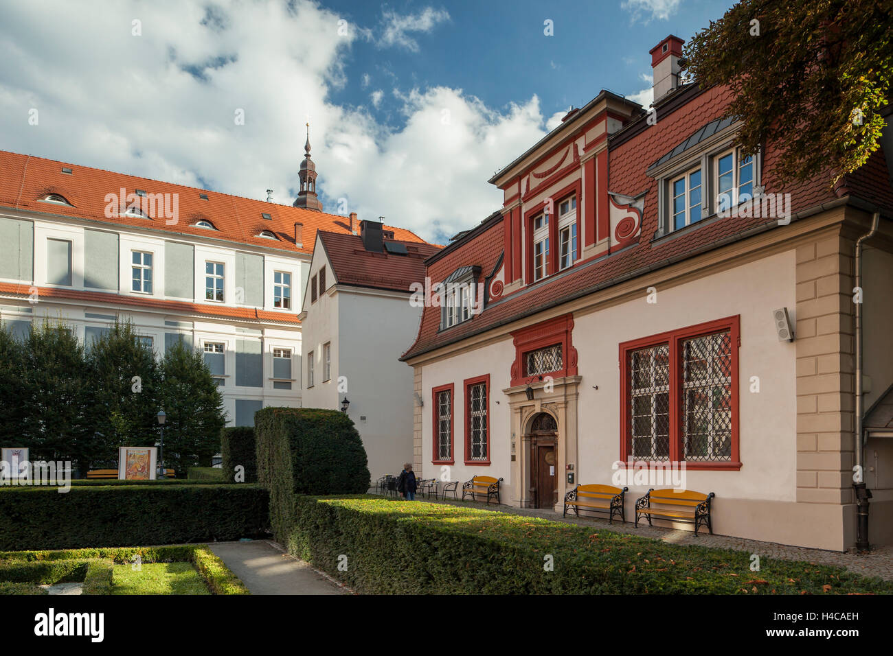 Autumn afternoon at Baroque garden Ossolineum in Wroclaw, Lower Silesia, Poland. - Stock Image