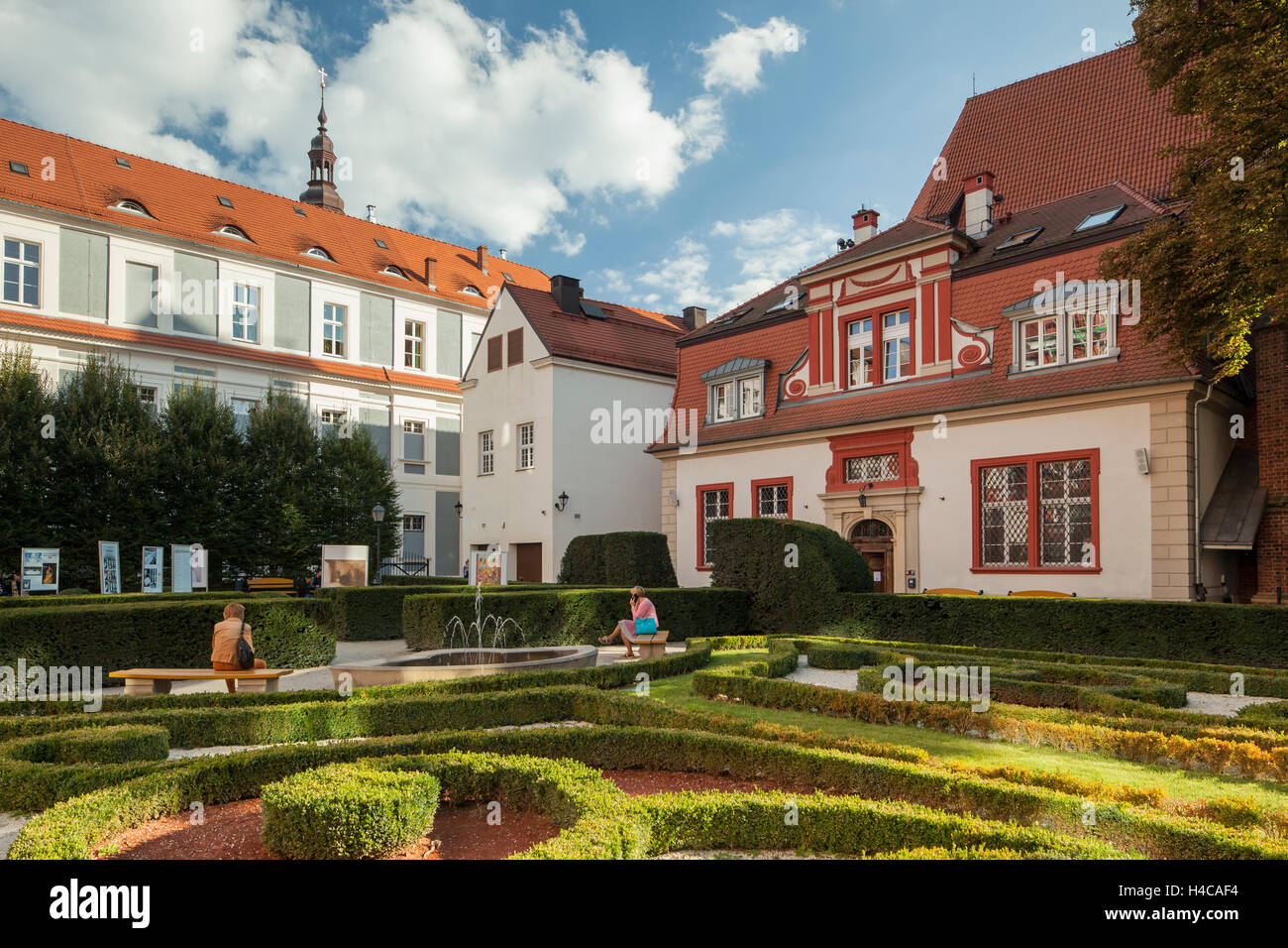 Ossolineum Baroque garden in Wroclaw, Lower Silesia, Poland. - Stock Image