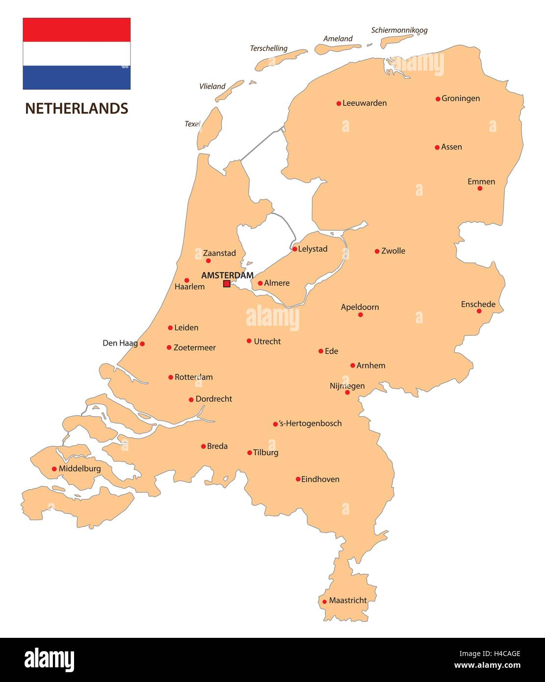 netherlands map with flag Stock Vector Art & Illustration ...