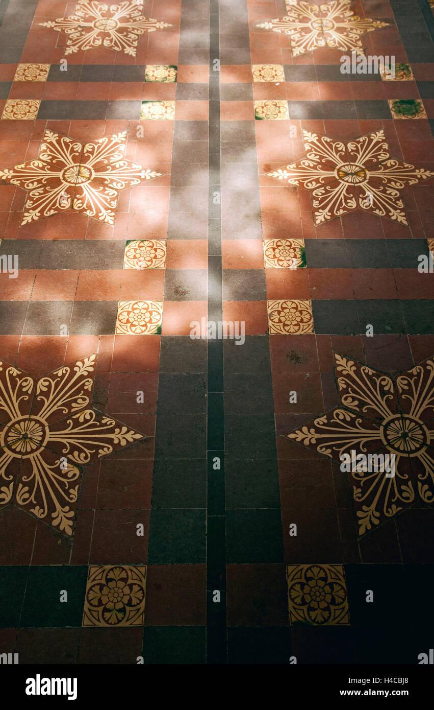 Church, floor, tiles, samples - Stock Image