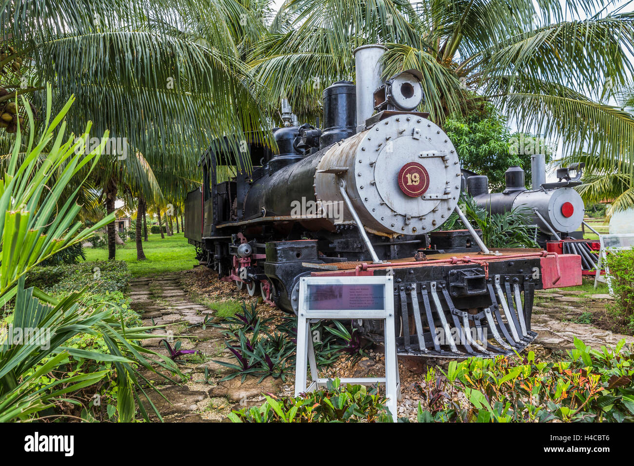 Historical steam locomotives exhibit and nostalgic railway on the area the sugar museum Marcelo Salado, Caibarién, - Stock Image