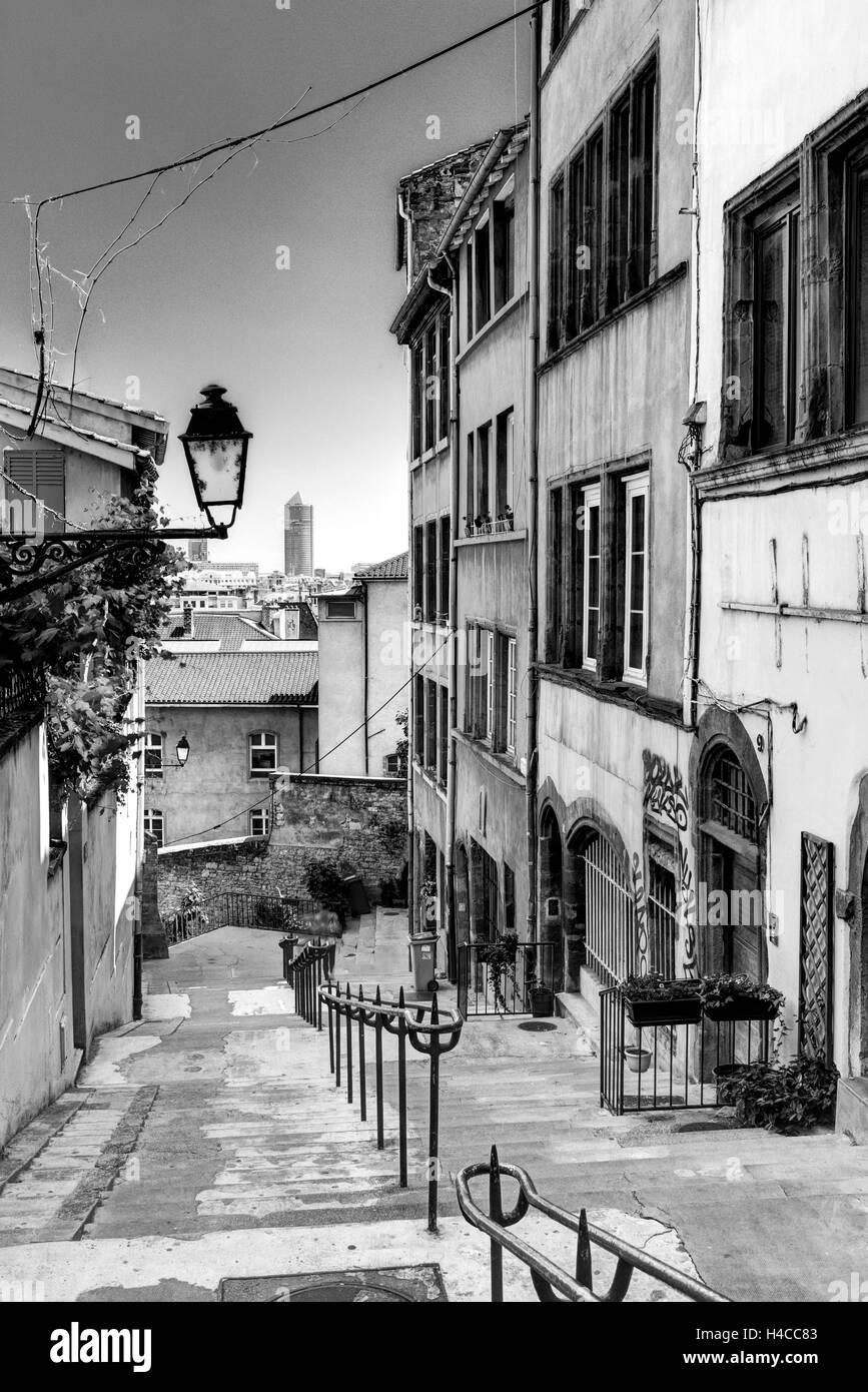Narrow lane, Old Town, Lyons, region Auvergne Rhône nightmare, France, - Stock Image