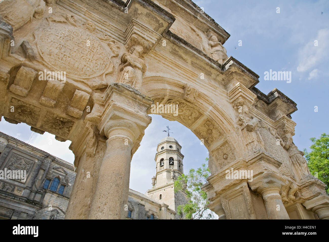 Cathedral of Baeza, Jaen, Andalusia, Spain - Stock Image