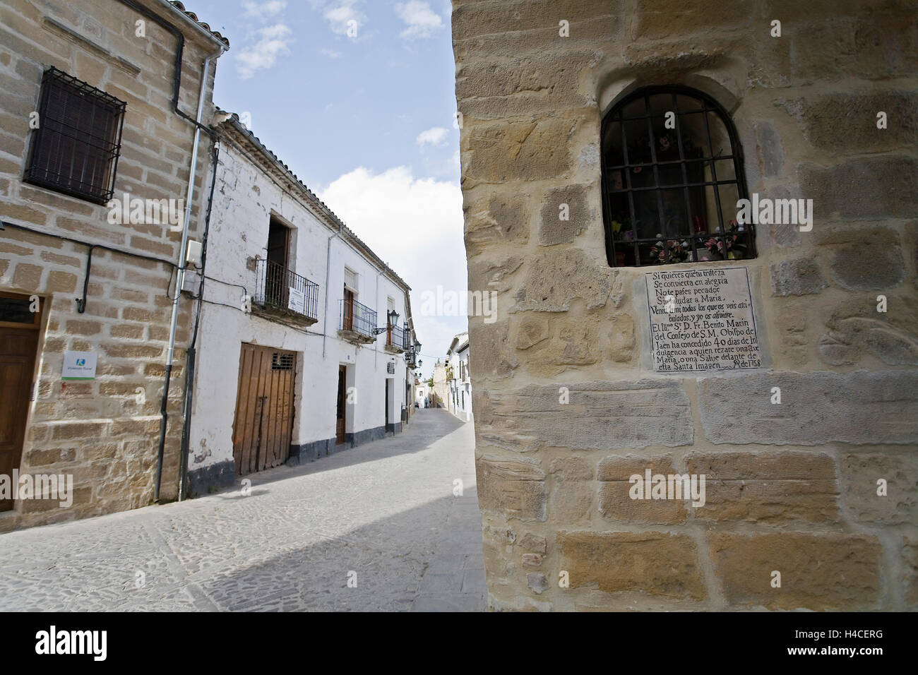 Street in Baeza, Jaen Province, Andalusia, Spain - Stock Image