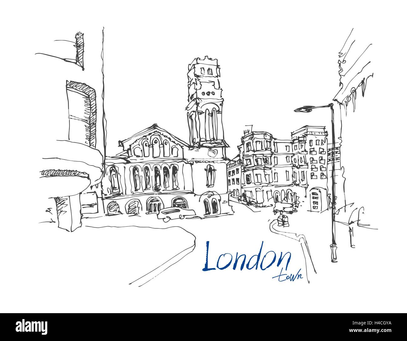 Ink sketch drawing of famous place in london with hand lettering ink sketch drawing of famous place in london with hand lettering altavistaventures Image collections