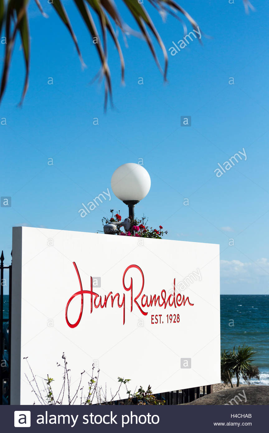 Harry Ramsden Sign outside the shop on Bournemouth Sea Front, Dorset, England, UK, GB, United Kingdom, Great Britain, Stock Photo