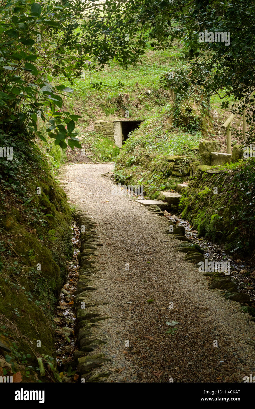 Footpath to the Holy Well or Sacred Spring of St Just, St Just in Roseland, Cornwall, England, United Kingdom - Stock Image