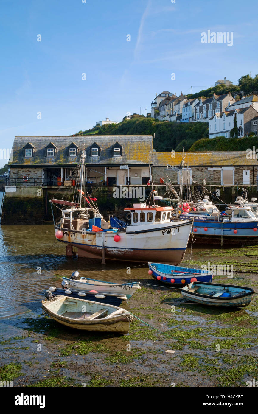 Small harbour with fishing boats, Mevagissey, Cornwall, England, UK - Stock Image