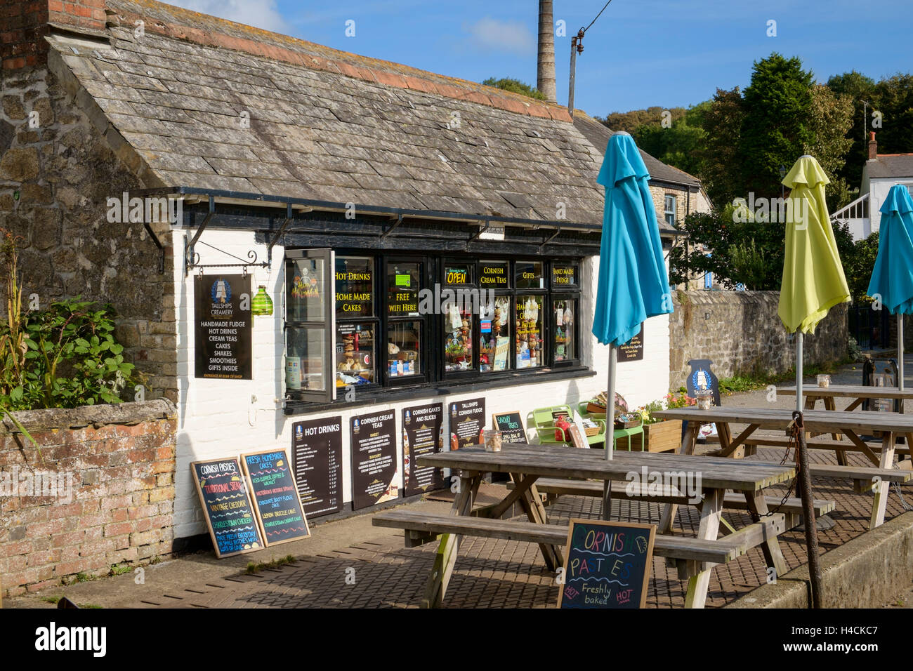 Old weighbridge building now a tea room and tea shop, Charlestown, Cornwall, England, UK - Stock Image