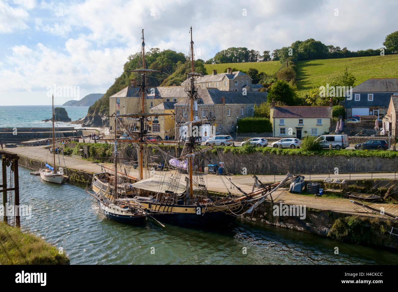 Charlestown harbour, Cornwall, UK with tall ships moored in the habour - Stock Image