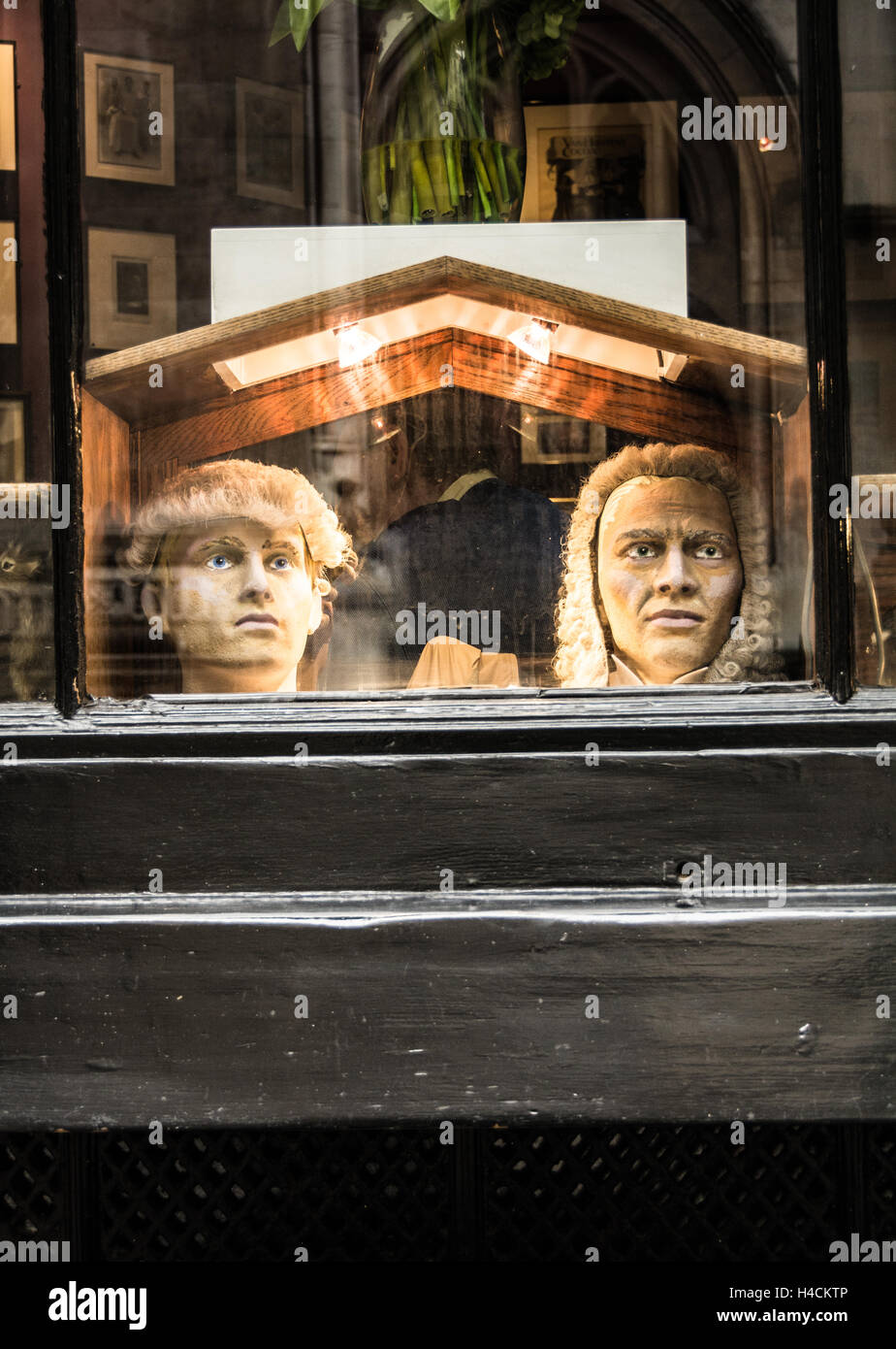 Barristers wigs in a window near Lincoln' s Inn Fields in Holborn London England - Stock Image