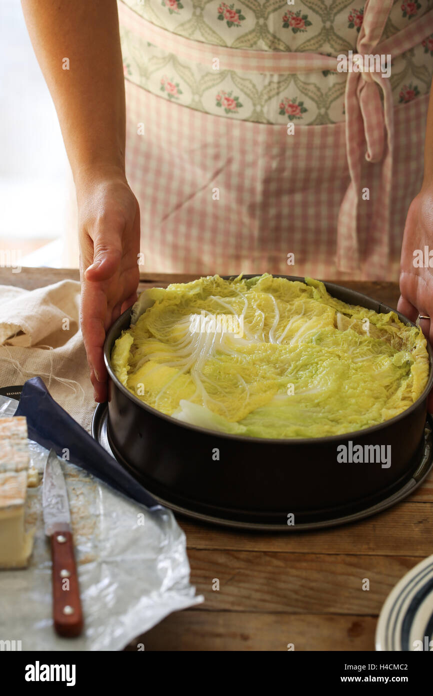Rice and chinese cabbage timabale - Stock Image
