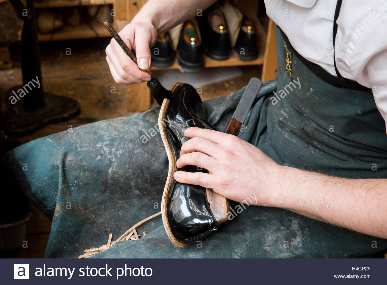 Occupational report with shoemaker Klemann Shoes Stock Photo