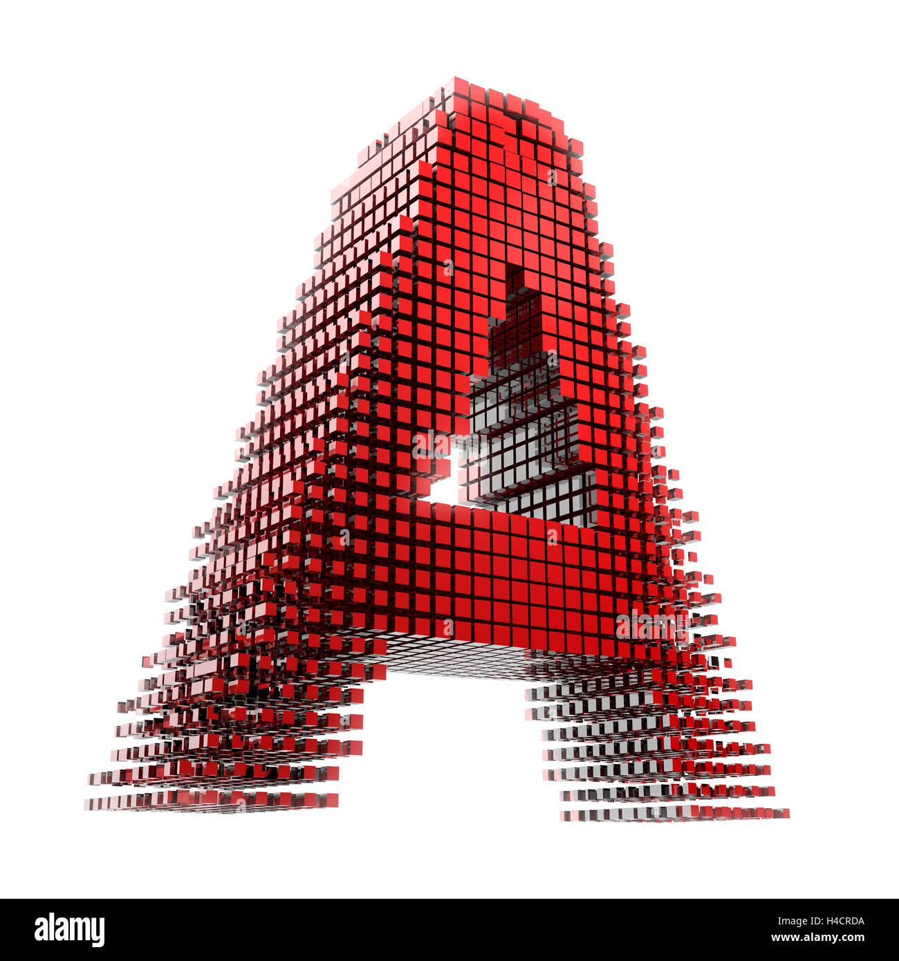D Letter Of A In Red Material Fragments Digitally In Front Of White