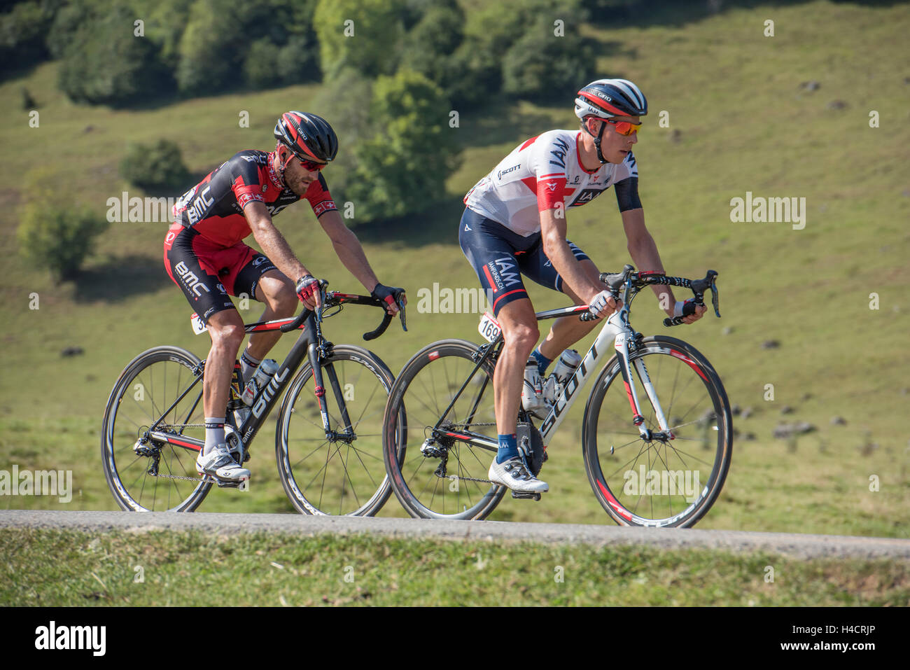 Marcel Wyss leading Danilo Wyss in la Vuelta Espagne on the Cole de Marie Blanque in the French Pyrenees. - Stock Image