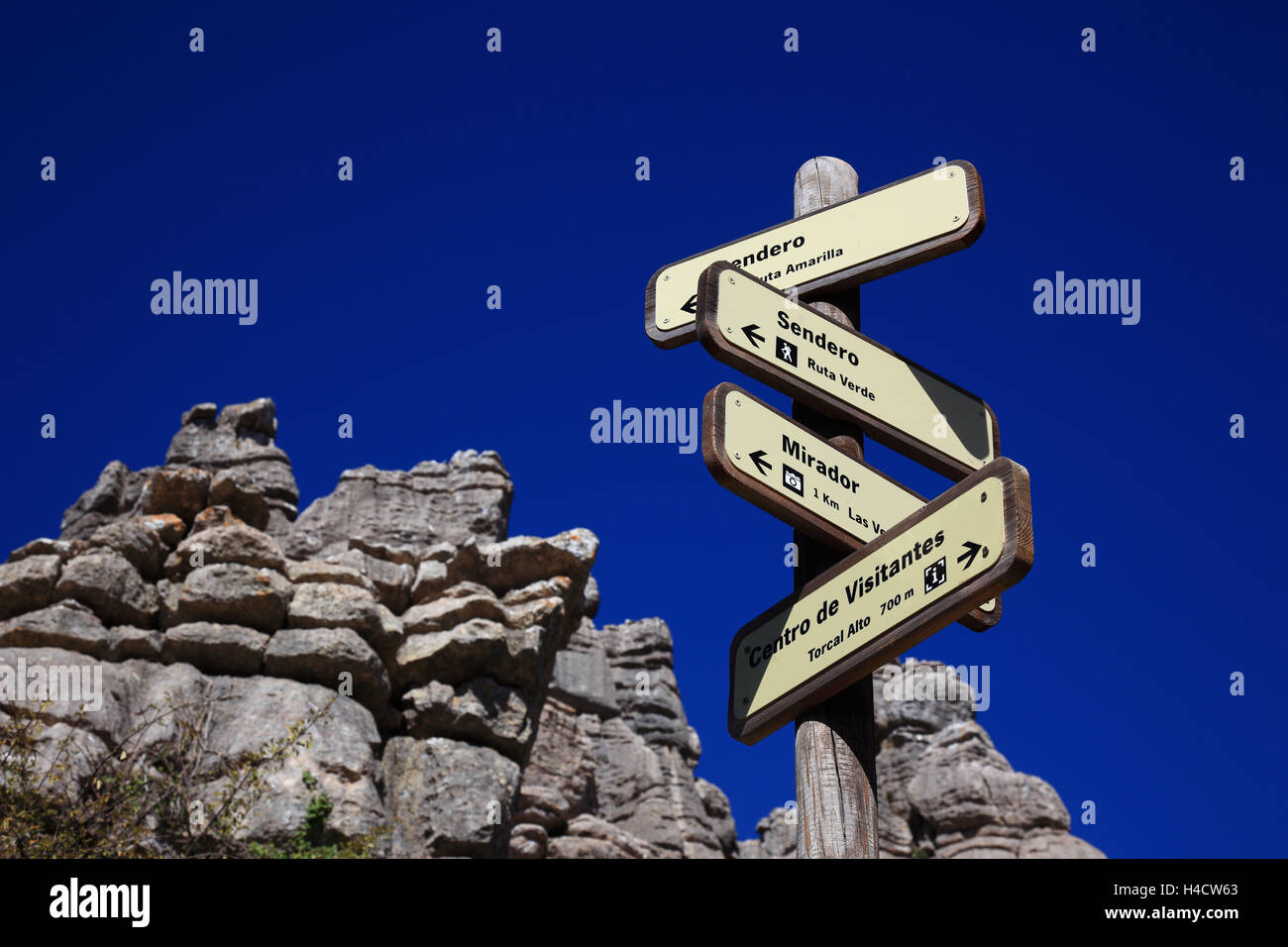 Signs in the national park tablespoons goal cal, Paraje Natural goal cal de Antequera, is of a 1171-ha-nature reserve - Stock Image