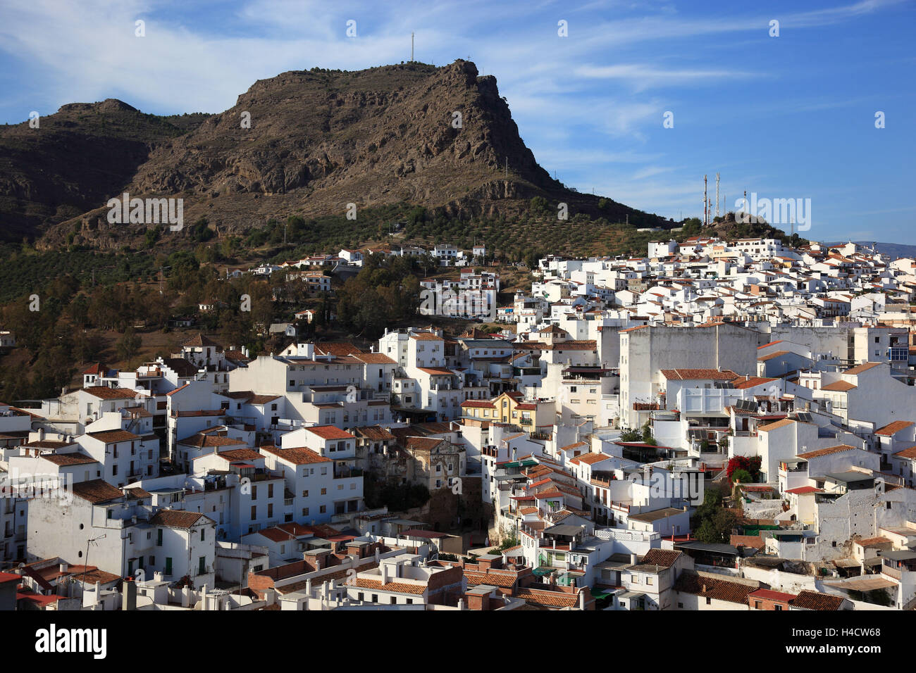 View at the white village Alora, Spain, Andalusia - Stock Image