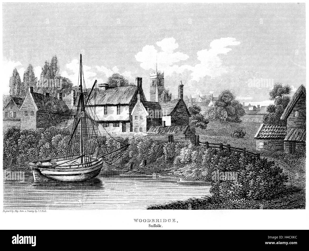 An engraving of the village of Woodbridge, Suffolk scanned at high resolution from a book printed in 1812. Believed - Stock Image