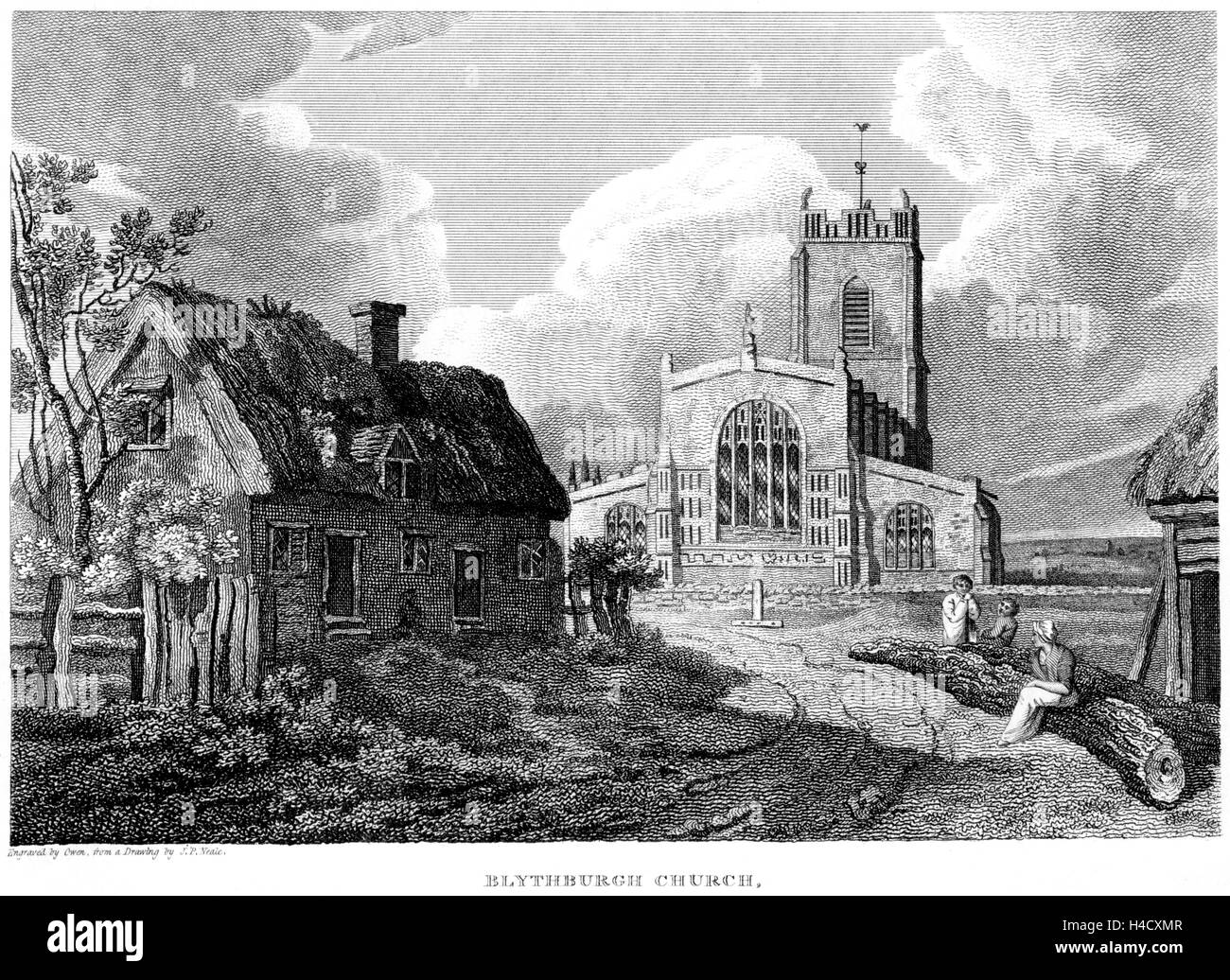 An engraving of Blythburgh Church, Suffolk scanned at high resolution from a book printed in 1812. Believed copyright - Stock Image