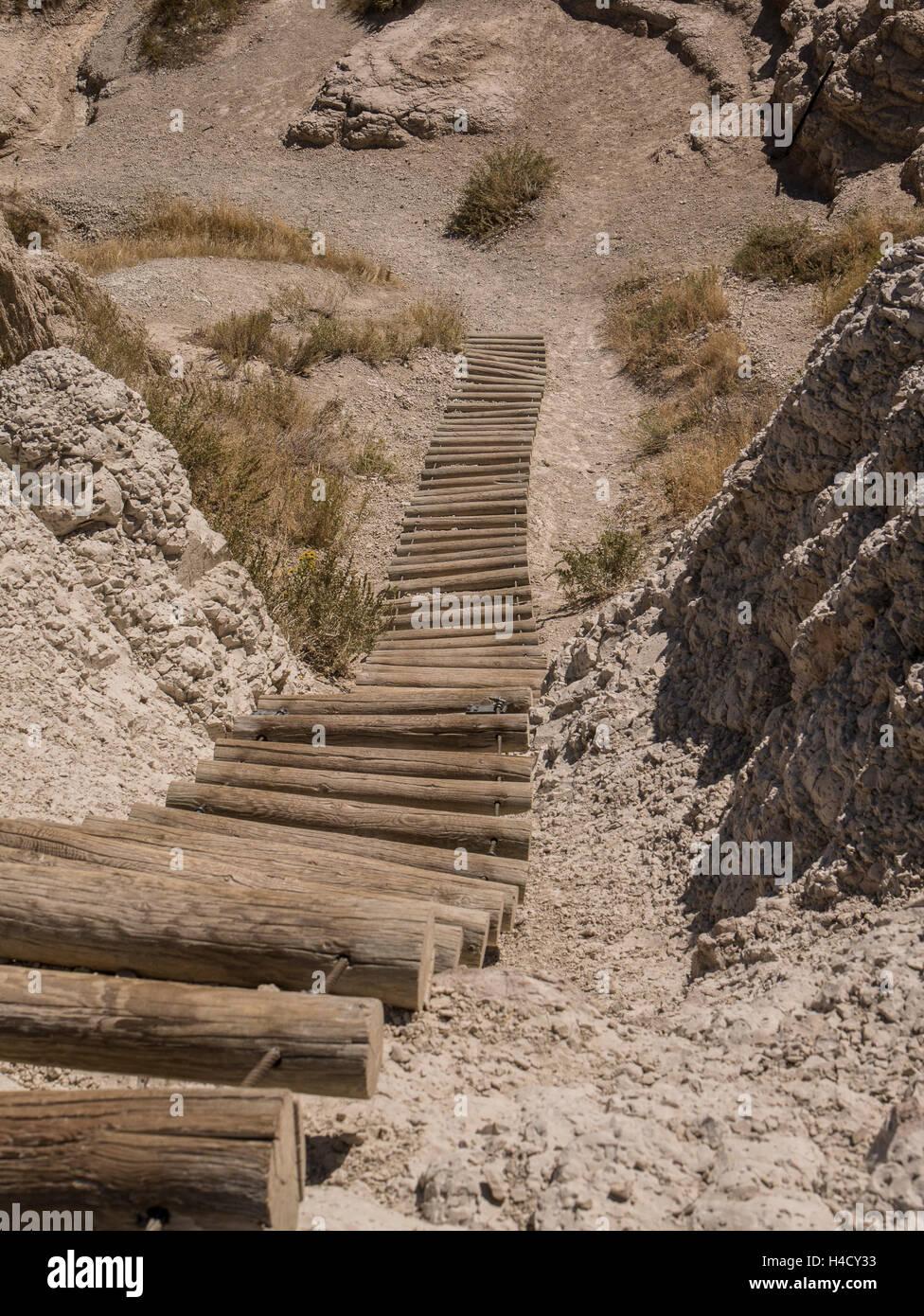 The Ladder on Notch Trail, Badlands National Park, South Dakota. - Stock Image