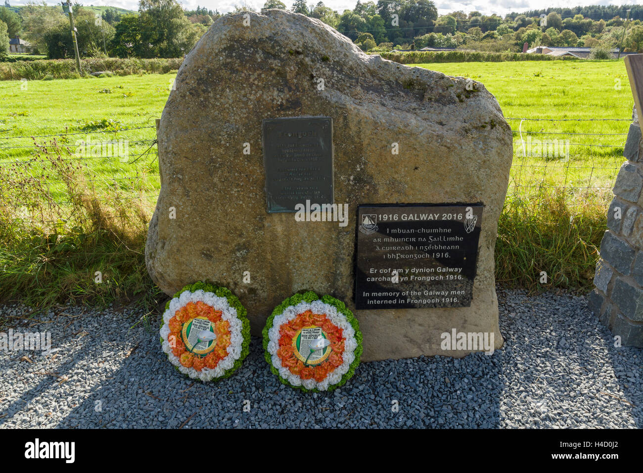 The site of the former Irish internment camp at Frongoch near Bala North Wales after installation of a new plaque - Stock Image