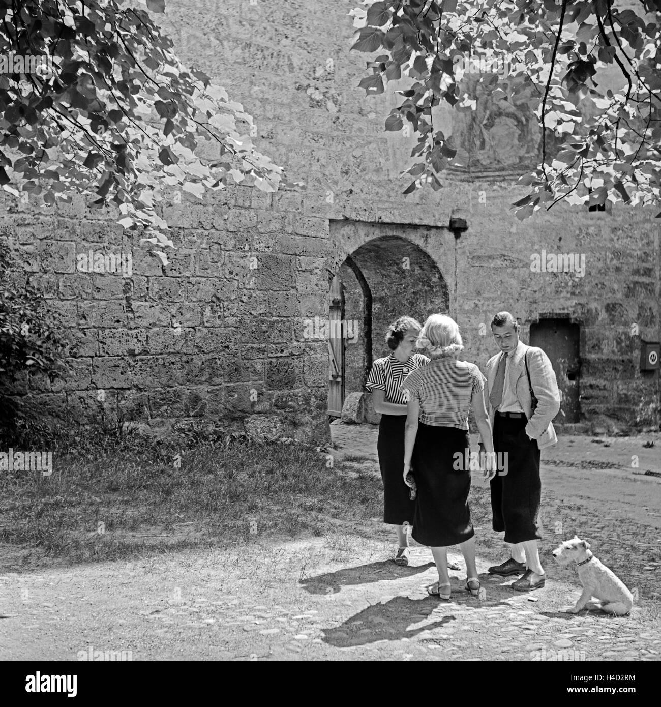 Ein Mann, zwei Frauen und ein Foxterrier vor dem Eingang zu einem mittelalterlichen Gebäude, Deutschland 1930er - Stock Image