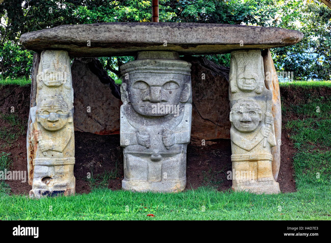 Republic Colombia, San Agustin, Departamento Huila, archaeological excavation site, statues, prehistorically, lava, - Stock Image