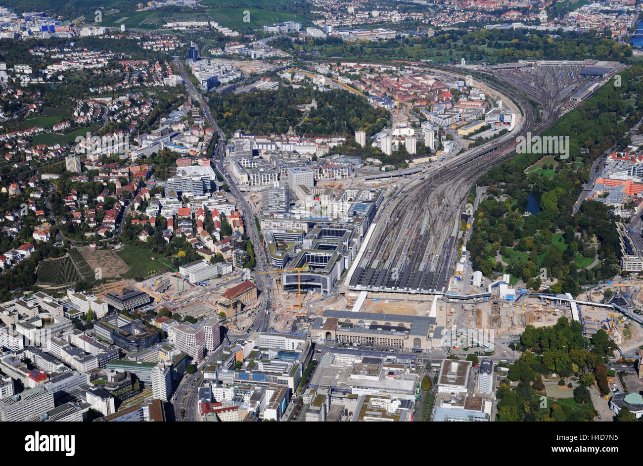 Aerial picture, Stuttgart21 long shot, central station men at work, railway track, European fourth, middle lock Stock Photo