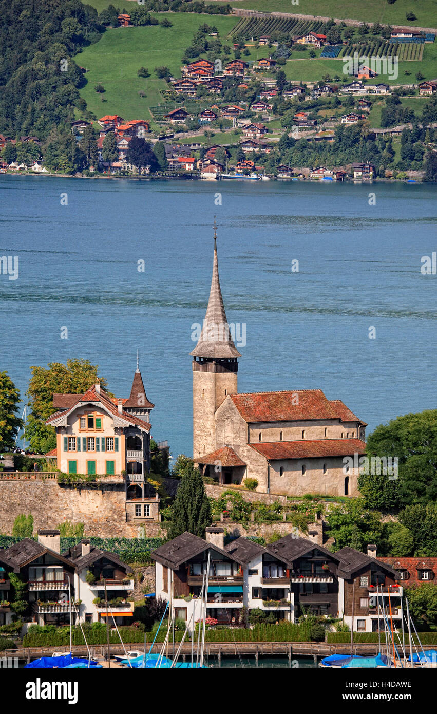 Lock church Spiez, the holy Kolumban consecrated Early-Romanesque lock church in the Thunersee, Switzerland - Stock Image